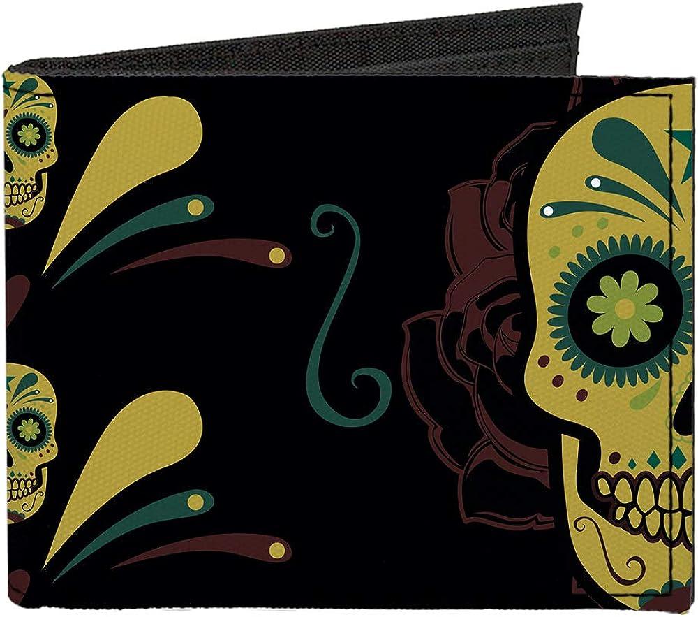 Buckle-Down Our shop most popular Men's Standard Canvas Bifold Skulls National uniform free shipping Wallet 4. Sugar