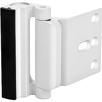 """Home Security Door Lock, Upgrade Easy Open Childproof Door Reinforcement Lock with 3"""" Stop Withstand 800 lbs for Inward Swinging Door, Nightlock Deadbolt Defend Your Home (White)"""
