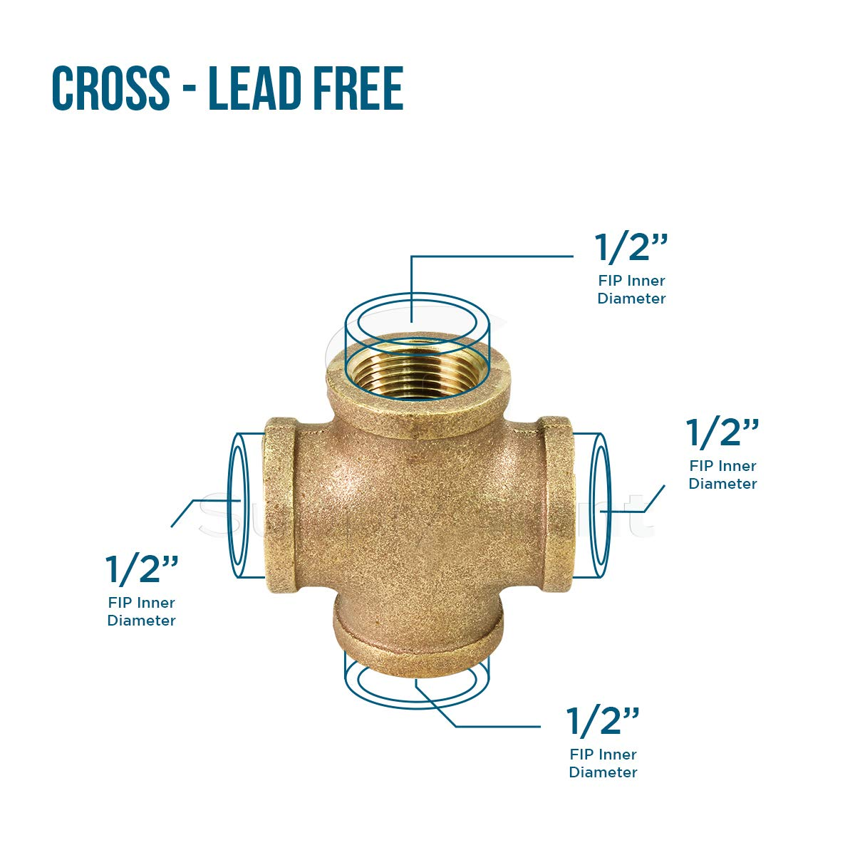 SUPPLY GIANT CSDS0300 1 Inch Lead Free Four Way Brass Cross Fitting with Equally Sized Female Threaded Branches for 125 LB Applications Easy to Install