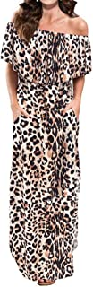 Lesfin Womens Off The Shoulder Dress Ruffle Party Long Casual Side Split Beach Leopard Print Maxi Dresses with Pockets