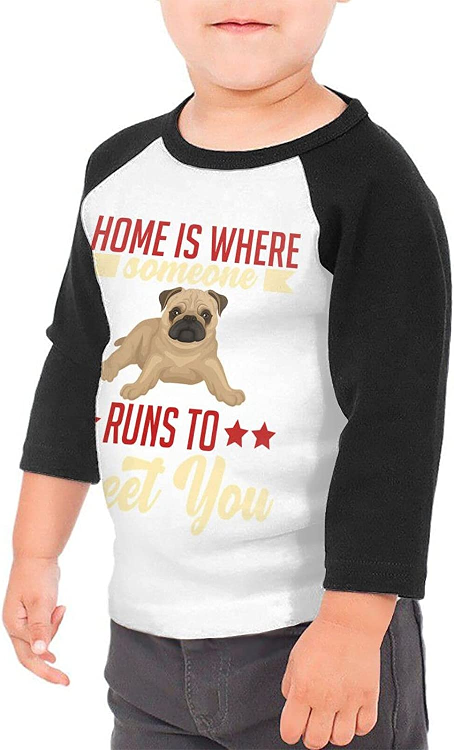 Pug Dogs Home is Where Someone Runs to Greet You T-Shirts Novelty for Youth Tees with Cool Designs