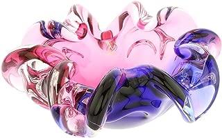 GlassOfVenice Murano Glass Sommerso Centerpiece Bowl - Rose and Blue