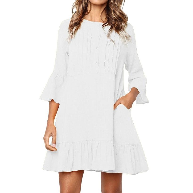 Womens 3/4 Sleeve Button O Neck Boho KIKOY Casual Mini Beachwear Dress Sundress