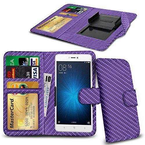 N4U ONLINE® Clip Serie Kunstleder Brieftasche Hülle für Allview V2 Viper X - lila Karbonfaser