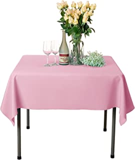 VEEYOO Square Tablecloth 100% Polyester Table Cloth for Indoor and Outdoor Table – Solid Dinner Tablecloth for Wedding Party Restaurant Coffee Shop (Pink, 54x54 inch)