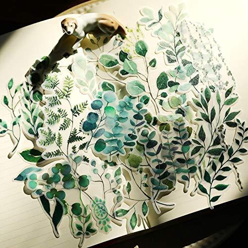 BLOUR WOKO Pegatinas de papelería de Plantas Frescas 75 unids/Pack Retro Plantas Verdes Flor Hoja BulletJournal Pegatina DIY Scrapbooking Lindo Regalo