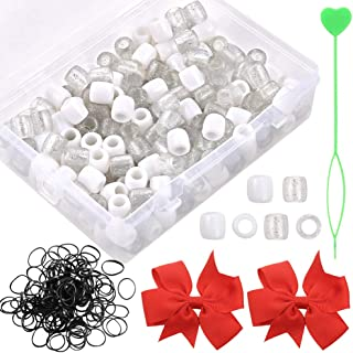 PP OPOUNT Hair Bead Box White and Clear Glitter Color Plastic Beads for Braid Hair Beads for Girls, 200 Pieces in One Pack...