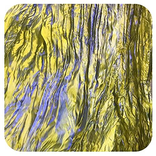 Lanpangzi Tejido Plisado Degradado Dos Tonos Teñido Hilo Verde Azul Doble Torsión Gradiente Pliegues Tela Retro Gradiente para Vestidos Novia Faldas para Niños Ropa De Escenario