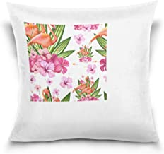 """MASSIKOA Flamingos and Flowers Decorative Throw Pillow Case Square Cushion Cover 18"""" x 18"""" for Couch, Bed, Sofa or Patio -..."""