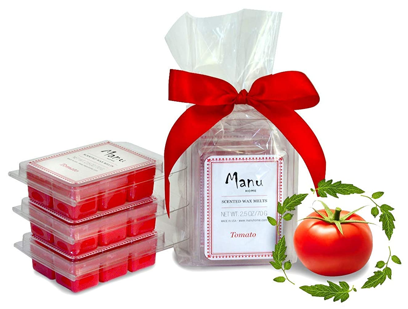 Manu Home 7.5 oz Tomato Vine Scented Wax Melts ~ 3-Pack ~ 50+ Hours of Fragrance When Wax Cubes are Melted in Scentsy or Standard Electric Warmer. Aromatherapy Oils ~ Made in USA
