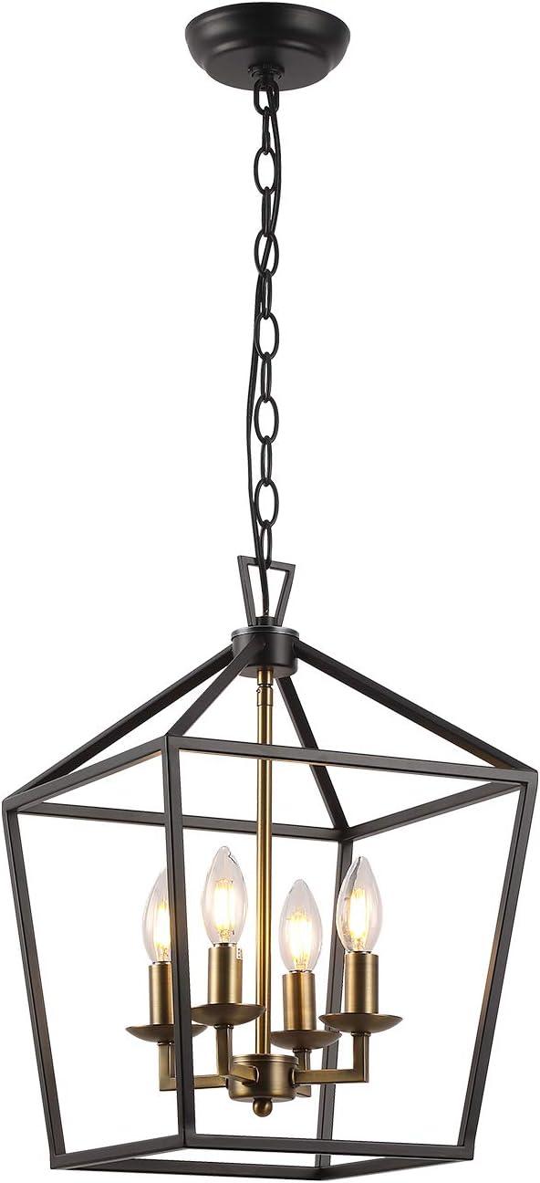 Farmhouse Detroit Mall Lantern Chandelier 4-Light Metal In Height Adjustable Sales