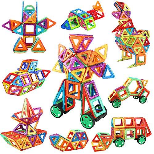 iKing マグネットおもちゃ マグネットブロック 磁気おもちゃ 磁石ブロック 立体パズル 知育おもちゃ 積み木 DIY 車 ロボット 四角形 三角形 男の子 女の子 贈り物 誕生日 ギフト クリスマス プレゼント