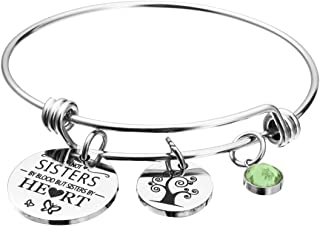 Friends Birthstone Bracelet Not Sister by Blood But Sister by Heart Friendship Charm Cuff Sister Jewelry Graduation Gift