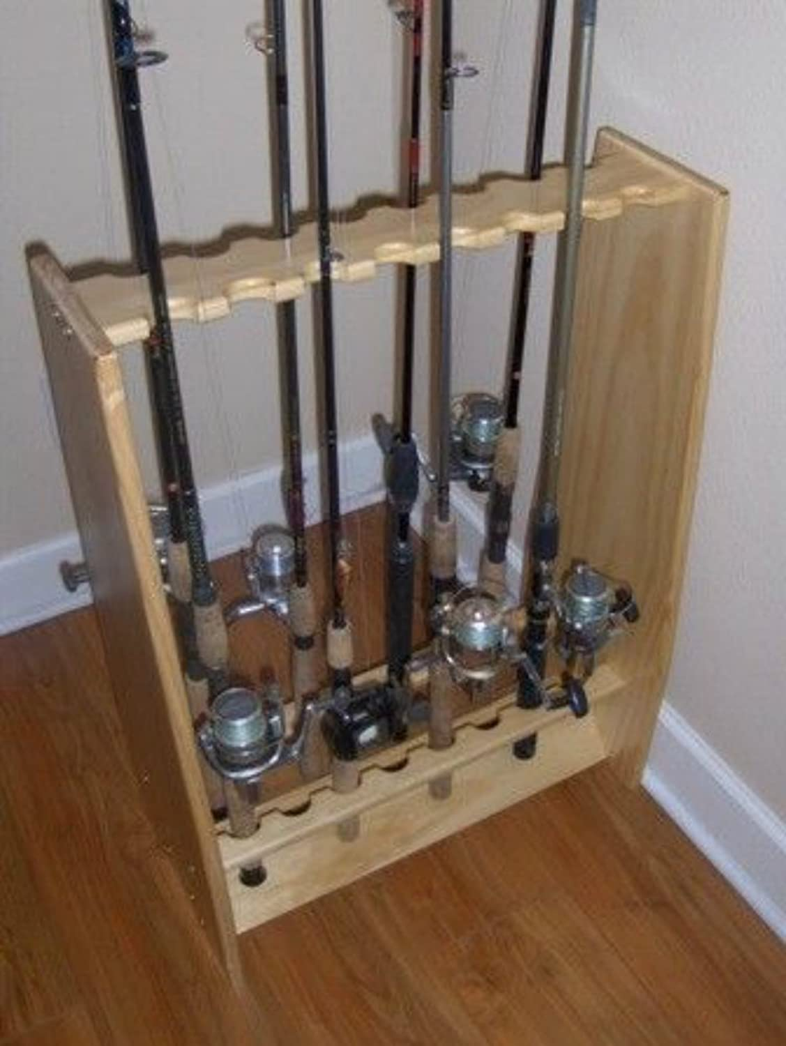 Greenical Wall Fishing Pole Rod Rack Holder Natural Pine 12 Rods TVWRR12