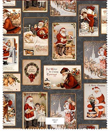 Provencestoffe.com Traumhafter Weihnachtsstoff Shabby Postcard Gray, Baumwolle, Digitaldruck, Meterware