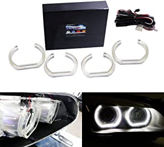 iJDMTOY (4 7000K Xenon White DTM-Style Square Bottom LED Angel Eyes Halo Rings w/Crystal Acrylic Covers for BMW 1 2 3 4 5 Series Headlight Retrofit
