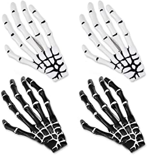 Ace Select 2 Pairs Korean Style Gothic Skeleton Hands Bone Hair Clips - Black and White Fashion Punk Rock Devil Claw Alligator Barrettes Women Girls Hair Accessories