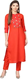 Jaipur Kurti Women Red Solid Straight Rayon Kurta With Pant
