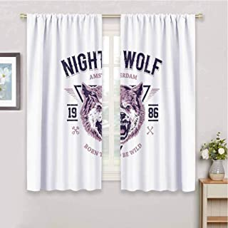 Wolf Insulating Room Darkening Blackout Drapes Born to be Wild Angry Animal Vintage Grunge Illustration Roaring Savage Retro Blackout Drapes for Bedroom W97 x L85 Inch Dried Rose Eggplant