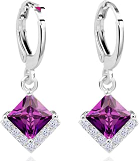 Small Drop Earrings Women Square Purple Zirconia Jewelry