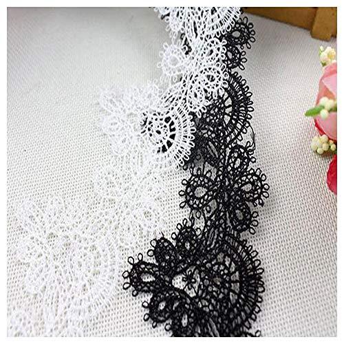 Jubaren7 6,5 cm de ancho CALIENTE blanca de algodón negro bordado de la cinta del cordón tejido 3D collar de ajuste coser DIY borla de guipur decoración vestido de apliques Fuentes de costura de brico