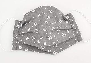 Maske - Schneeflocken Grau - Weihnachts-Edition - Baumwolle