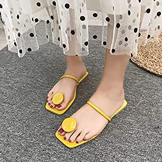 Women Summer Flip Flops Ladies Slippers Shoes Comfortable Ladies Flat Slides Outdoor Open Toe Beach Females Shoes Sandals Simple casual sandals and slippers (Color : Yellow, Shoe Size : 6.5)