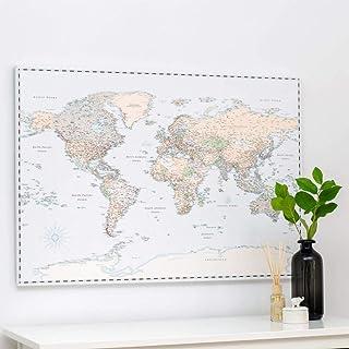 Trip Map Planisfero da Parete – Mappa del mondo - Quadro su tela incorniciato con 100 puntine incluse – Cartina geografica...