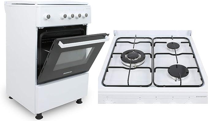 COCINAS DE GAS CON HORNO CC53GBL INFINITON (3 FUEGOS, Blanco, Cocina independiente, Placa + Horno, Kit Gas Natural, Doble Puerta Vidrio Horno, ...