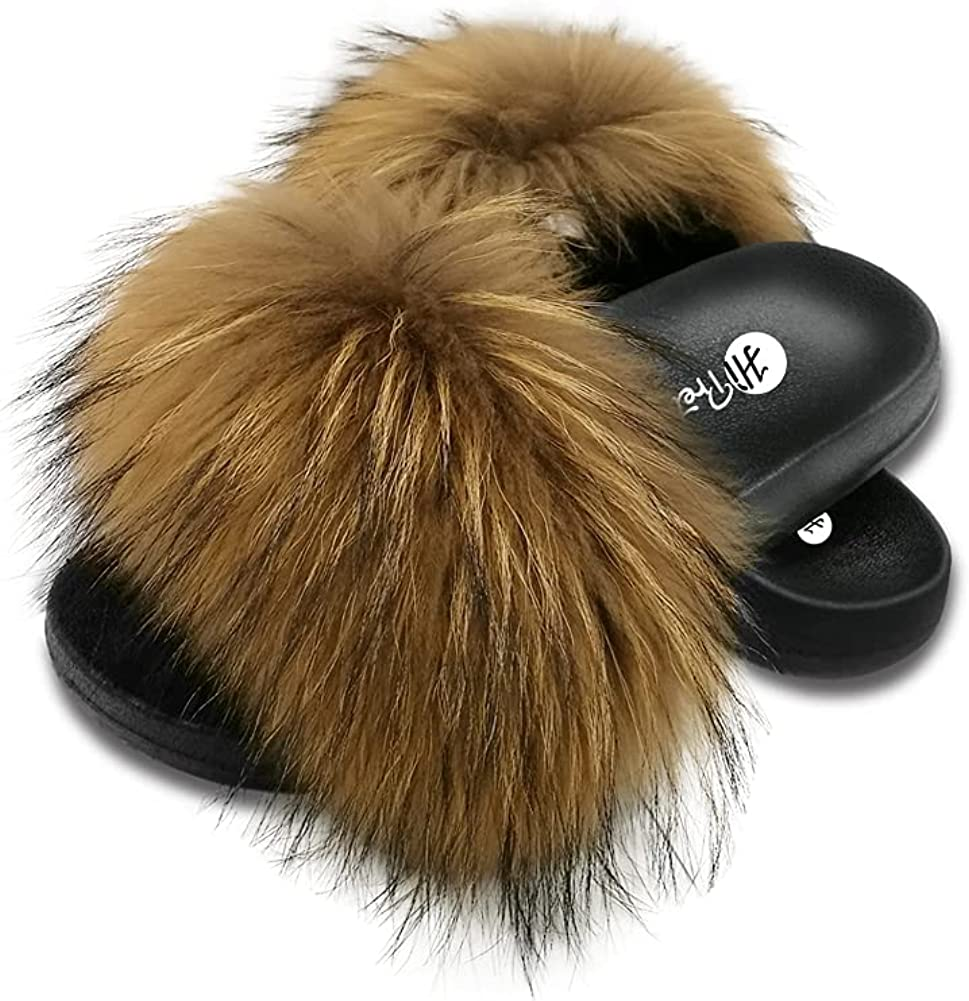 Women's Real Fox Fur Slides Cute Superior Slippers Open Max 55% OFF Toe Indoor