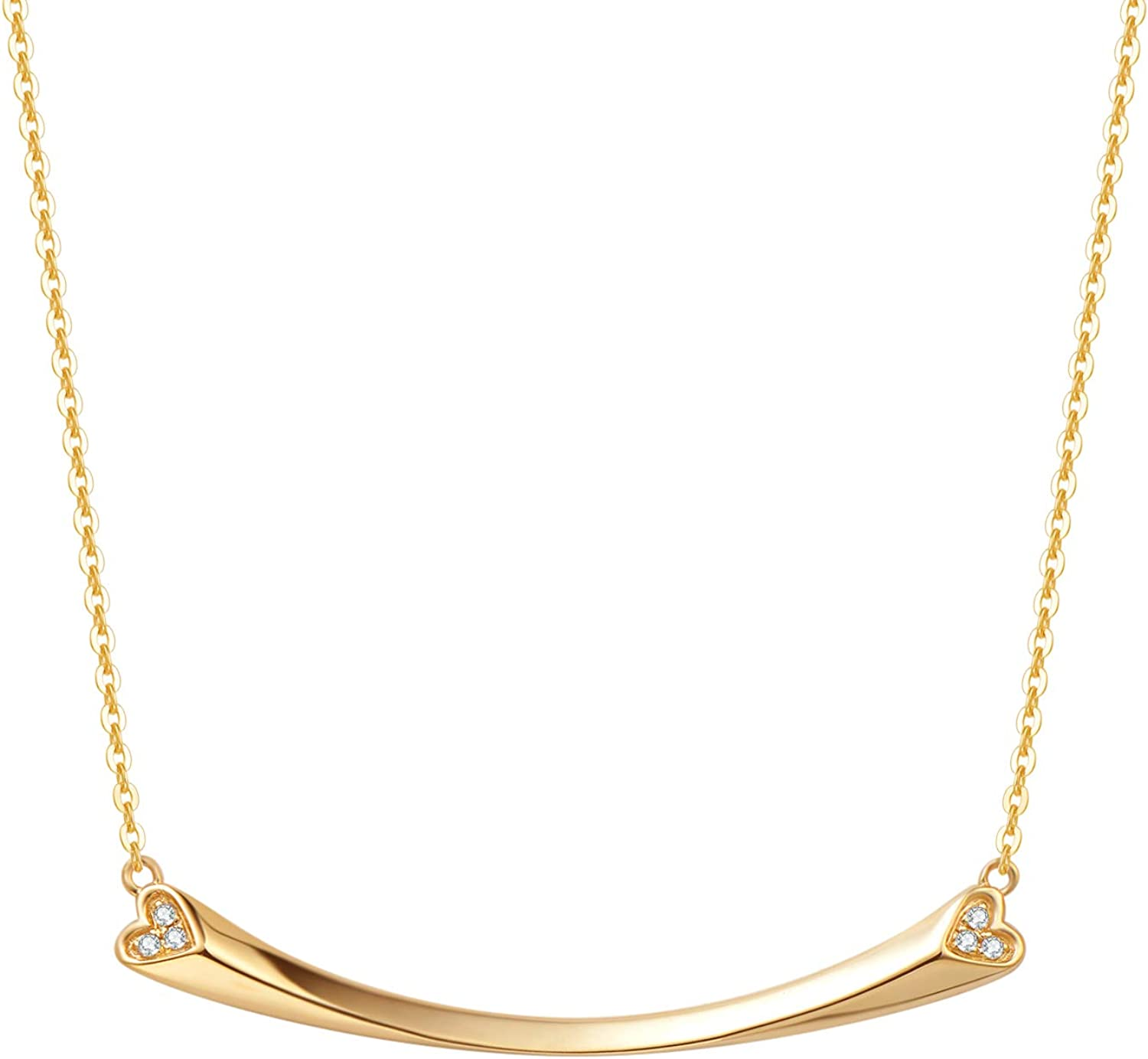 FANCIME 18K Fees free!! Real Solid Gold Smile Bar outlet Heart Genu 0.03ct Necklace
