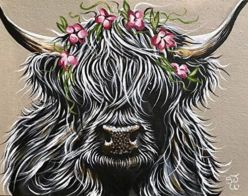 5D Kit de pintura de diamante por número para adultos,Arte del mosaico de la vaca de las tierras altas Diamond Painting Diamantes Imitación Bordado Pegatinas de Pared Decoración de La sala(30x40cm)