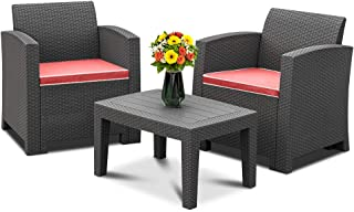 Bonnlo 3pcs Garden Furniture Set with Washable Seat Cushions, Plastic Wicker Pattern Patio Furniture Sets for Outdoor, Indoor, Patio, Backyard, Porch, Poolside (Black)