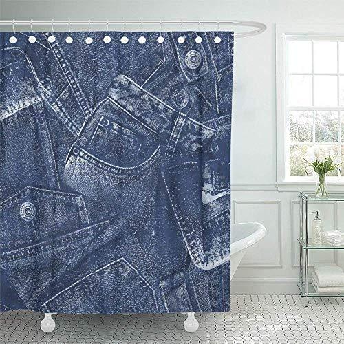 Badkamer gordijnen Blue Jeans denim materiaal aquarel button draw tekening vrije hand grafisch broek 183X183cm waterdicht badkamer gordijn set hotels met haken decoratieve douchegel