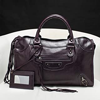 ZXK Business Outdoor Leather Handbag/Motorcycle Bag/Hand Ms. Oil Wax Leather Bag Fashion (Color : Brown)