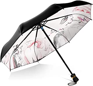 Household Double Umbrella UV Sunscreen Collapsible Umbrellas Dual Four Colors Style Barometer LJJOZ (Color : B)