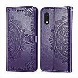 Bear Village Hülle für Galaxy XCover Pro, PU Lederhülle Handyhülle für Samsung Galaxy XCover Pro, Brieftasche Kratzfestes Magnet Handytasche mit Kartenfach, Violett