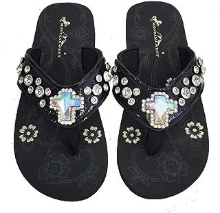 Montana West Women Flip Flops Shiny Western Bling Sandals AB Crystal Cross