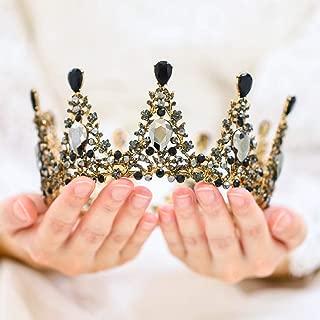 Yean Wedding Crown and Tiara Bridal Princess Queen Crown Baroque Vintage Rhinestone Headband for Bride and Bridesmaid (Black)