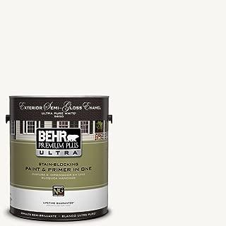 BEHR Premium Plus Ultra 1-Gal. #UL260-14 Ultra Pure White Semi-Gloss Enamel Exterior Paint