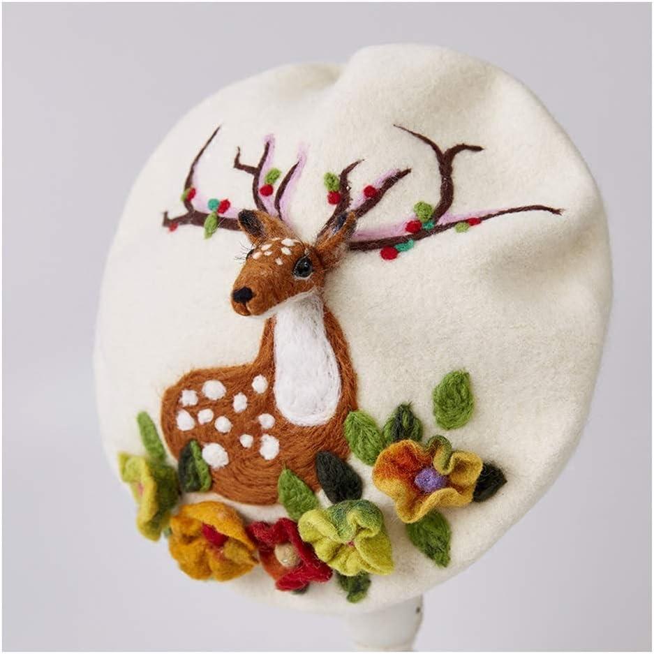 LHZUS Hats Elk Berets Animal Hat Winter Lady Fashion Handmade Warm Versatile Fashion Lovely Cap (Color : 2, Size : 56-58CM)