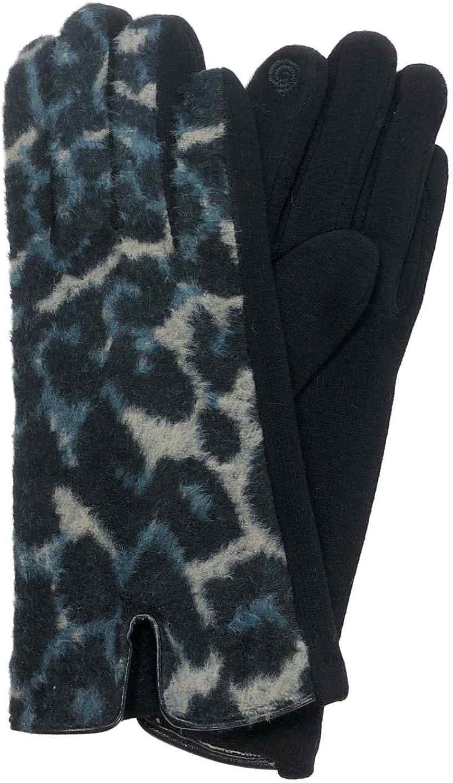 Womens Blue & Black Leopard Print Stretch Fit Texting & Tech Touchscreen Gloves