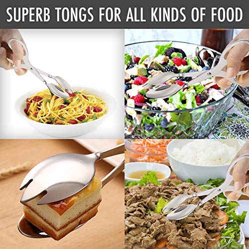 Product Image 4: Stainless Steel Salad Tongs, 8 Inch Serving Tongs with Comfortable Grip, Anti Rust and Corrosion Dishwasher Safe Fork Tongs for Home Kitchen Party Buffet Catering with Food Recipe Ebook