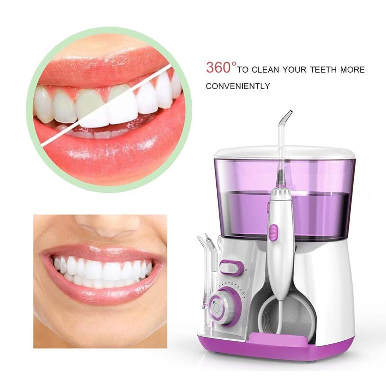 オーナメント四分円フォーム口腔洗浄器、IPX7防水プロフェッショナル歯科用口腔洗浄器、スプレーノズル5個、調整可能なギア位置10個,Purple