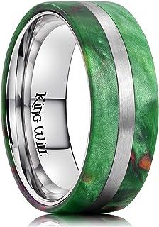 King Will 8mm Men Titanium Wedding Ring Inlaid Green Resin&Slender Silver Titanium Flat/Dome Style