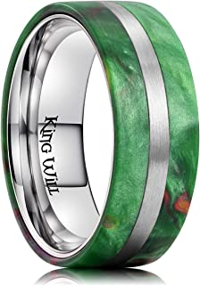8mm Men Titanium Wedding Ring Inlaid Green Resin&Slender Silver Titanium Flat/Dome Style