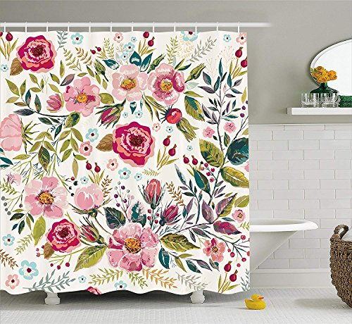 Ambesonne Floral Shower Curtain by, Shabby Chic Flowers Roses Pedals Dots Leaves Buds Spring Season Theme Image Artwork, Fabric Bathroom Decor Set with Hooks, 84 Inches Extra Long, Multicolor
