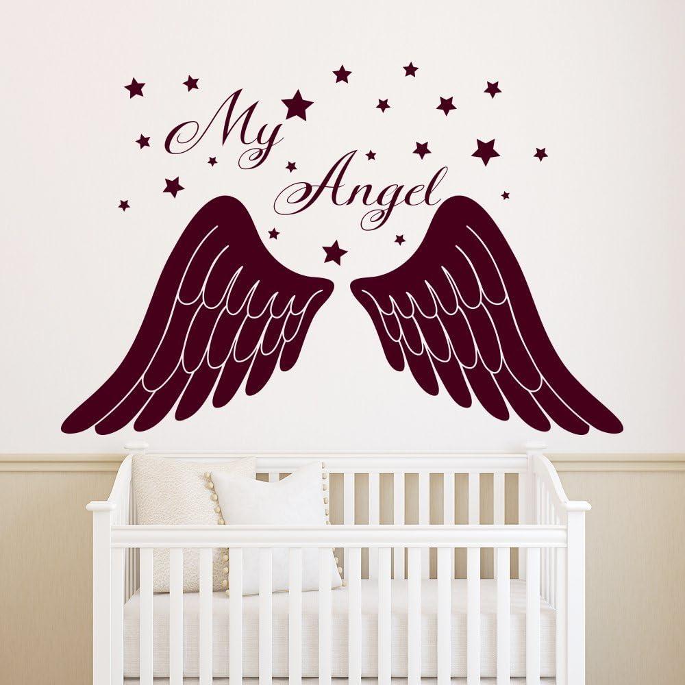 Wall Window Decal Sticker Strong Angel  Wings Childroom Teen room Bedroom Guestroom 148u