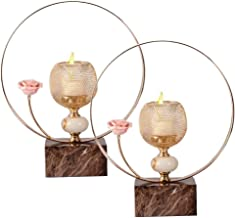 MKUN 2pack of Iron Candle Holder - Modern Decorative Round Candlestick Holder with Rose Great for Home Bar Hotel Décor (Go...