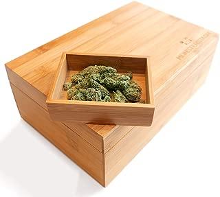 MonsterStash Cannabis Storage Humidor Box – Organize Your Stash, Herbs, and Essentials. Handmade with Premium Bamboo, Natural Finish.
